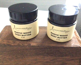 Sample size Rustic Wood Scented Body Butter, Shea Body Butter, Body Butter, Hair Butter, Natural Body Butter, Hair Butter