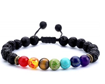 7 Chakra Crystal Bracelet with Lava Stone Diffusers