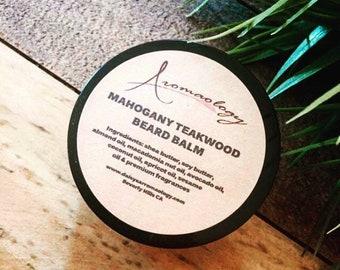 Beard Balm - Mahogany Teakwood Beard Balm - Beard Conditioner - Men's Personal Care - Gifts for Men, Husband, Grooming