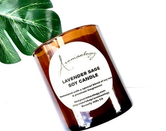 Lavender Sage Natural Soy Wax Candle, Lavender and Sage Candle, Aromatherapy soy Candle, Spa Candle, Relaxing Candle