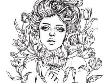 Kleurplaten Prinses Amber.Kleurboek Printen Etsy