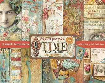 Stamperia - Time Is An Illusion - 12x12 Paper Pad 10 Double Sided Sheets Scrapbook Mixed Media SBBL33