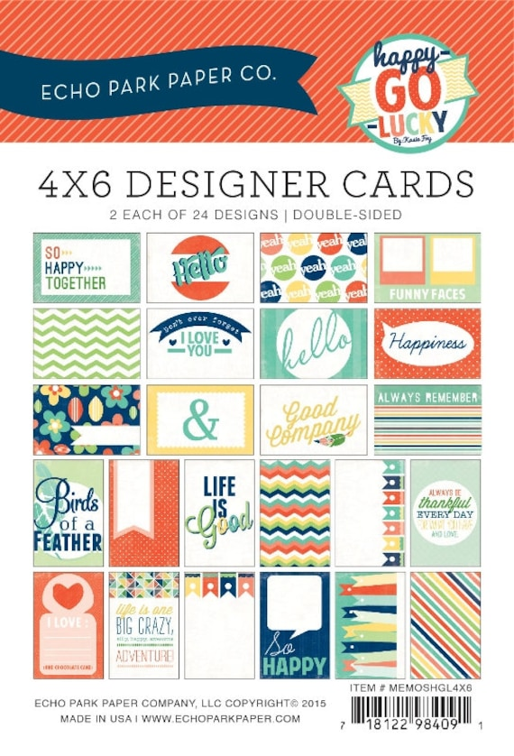 """Echo Park Coffee 3x4 JOURNALING CARDS 12x12/"""" d//sided scrapbooking paper"""