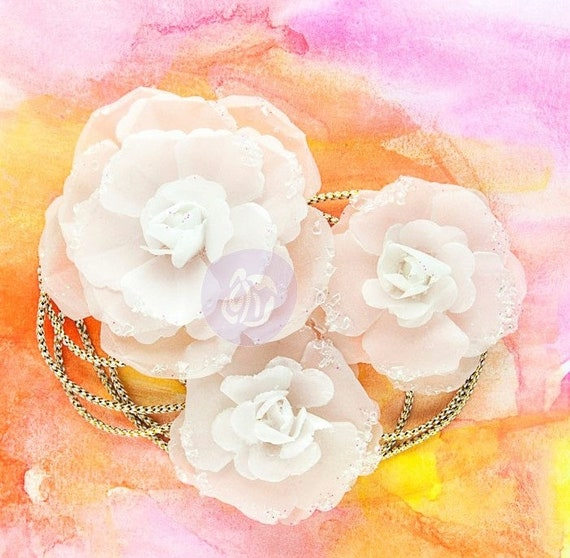 Prima Marketing Sunset Afternoon Vellum Paper Flowers With Etsy
