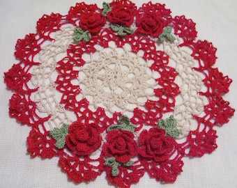 crocheted  doily red  and ecru roses handmade by Aeshagirl