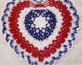 patriotic crocheted doily red white and blue 4th of July USA original design