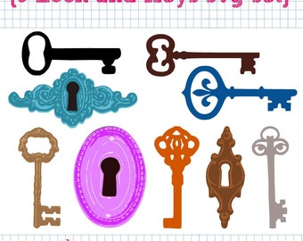 9 Lock and Key SVG DXF Set