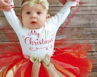 my first christmas baby girl christmas outfit babies first christmas outfit 1st christmas tutu onesies brand by gerber