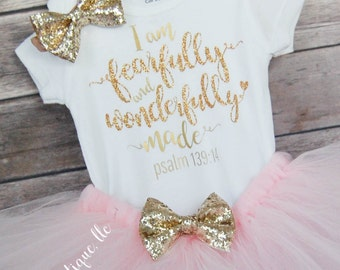Baby Girl Outfit; I am Fearfully and Wonderfully made; Babygirl Outfit; Baby girl Bodysuit with Tutu; Psalm 139:14; Faux Leather bow