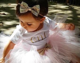 First Birthday Outfit Girl; One Birthday Tutu Outfit; baby girl 'one' tutu outfit; Tutu Outfit for first birthday; Gerber ® Onesies ® brand