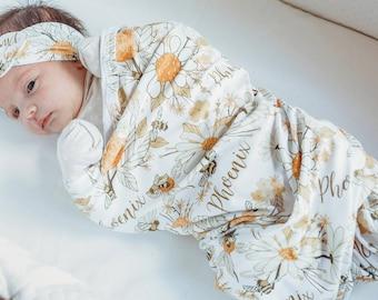 Baby Shower Gift Newborn Boy Swaddle Set Mustard Stripe Swaddle Set Photo prop Knit Swaddle Set Swaddle Blanket and Hat Newborn
