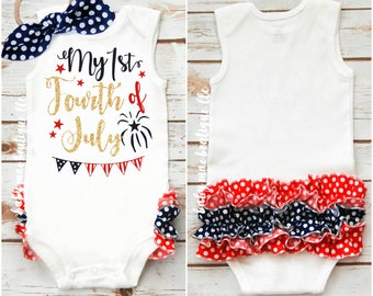 2050a099c91b Baby Girl 4th of July Outfit   First Fourth of July   Baby girl 1st Fourth  Bodysuit with Ruffle  Gerber ® Onesies ® brand available