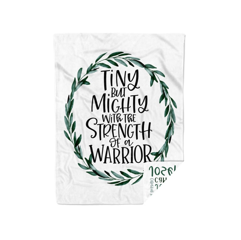 Nicu Baby Brave Little Fighter Inspirational Gift  Tiny But Mighty Blanket  Chd Awareness Spina Bifida Surgery Scoliosis Cancer