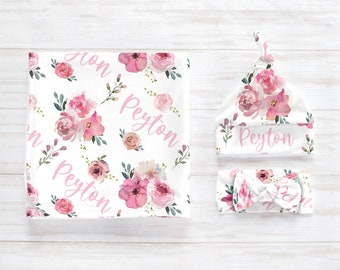 Floral Pink Rose Swaddle Blanket Headband Hat Set / Personalized Baby Shower Gift / Hospital Newborn Photos Prop / Peyton Collection