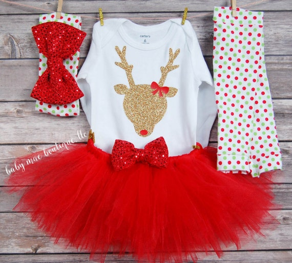 6044f4322 Christmas Outfit Baby Girl   Glitter Reindeer Outfit   Baby