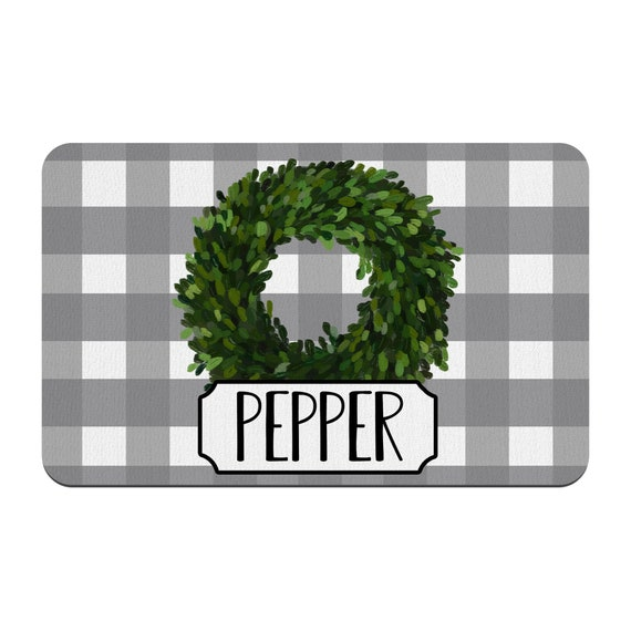 Boxwood Wreath Custom Pet Placemat New Puppy Supplies Personalized Farmhouse Dog Bowl Mat
