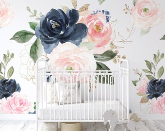 Navy Pink Peach Rose Floral Wallpaper / Peel and Stick Removable / Baby Girl Nursery Decor / Large Print / Living Room Bedroom / Midnight