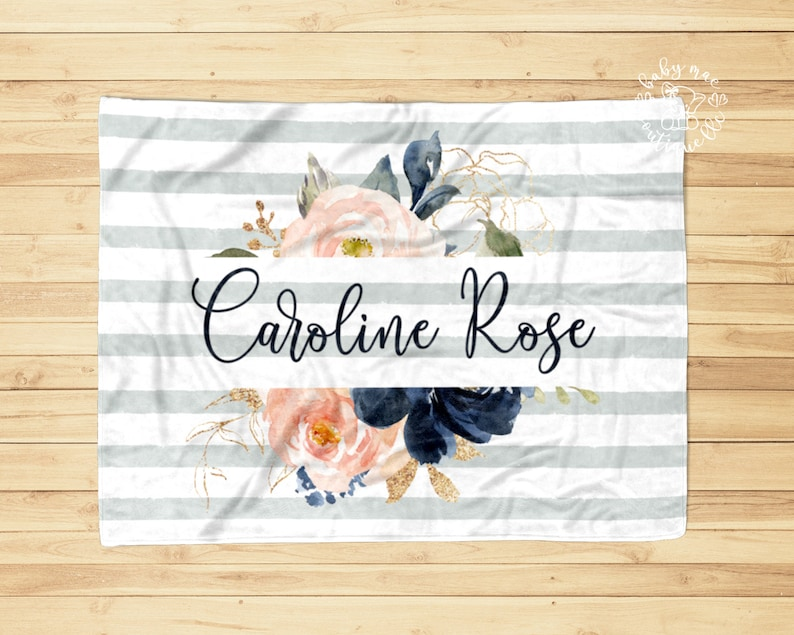Girl Milestone Baby Blanket  Growth Tracker  Navy Blush Pink Floral Wreath Bouquet  Personalized Newborn Name Swaddle
