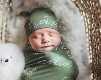 Sage Green Baby Name Swaddle Blanket Set / Newborn Beanie Knotted Hat / Baby Shower Gift / Choose Colors and Font / Custom Print Name