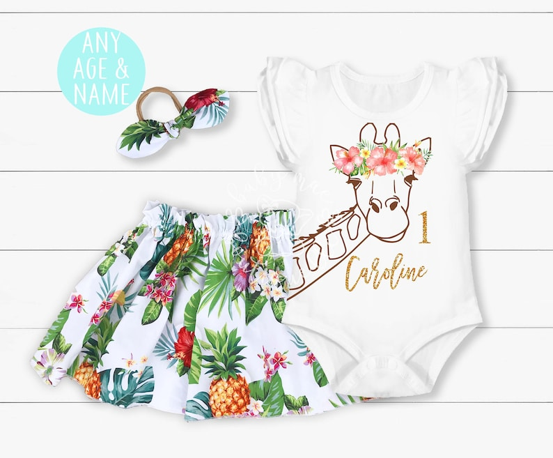 2e Hands Babykleding.Hawaiian Giraffe Birthday Outfit Baby Girl 1st 2nd 3rd 4th Etsy