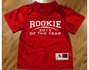 873094670d3 Customized Rookie of the Year RED Football Jersey in 2 3t or 4t TODDLER  Sizes Personalized with Your Choice of Name   Number on back!