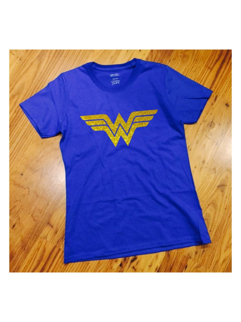 c514f246fba67 Wonder Woman Royal Blue T-Shirt #1 with YELLOW GOLD GLITTER Ladies Tee  Women's WonderWoman Inspired Design