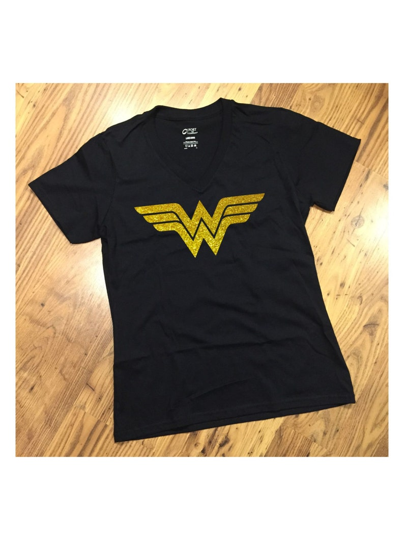 36260e37079db Wonder Woman Black T-Shirt #1 with YELLOW GOLD GLITTER for Ladies Crew or  Ladies V-Neck Tee Women's WonderWoman Inspired Design