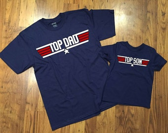 Top Dad and Top Son Matching Pilot T-shirts Gift Set for Daddy Baby Shower Bodysuit Toddler Youth - Great for Fathers Day!