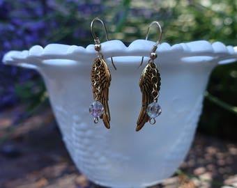 Angel Wings & Vintage Crystal Earrings 14K Gold Fill