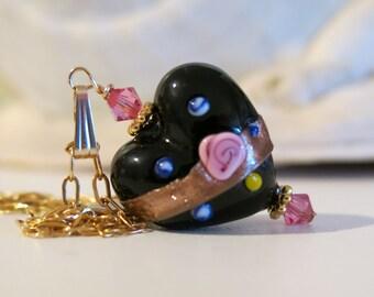 Venetian Glass Black Heart Pink Rose Necklace