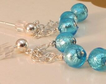 Venetian Glass 925 Sterling Blue Post Earrings