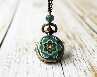 Floral Pocket Watch Necklce. small pocket watch. vintage style pocket watch. birthday gift for her