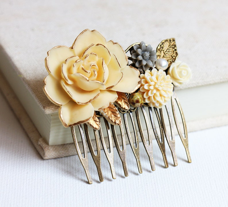bridesmaid hair comb Gold Leaf and Pearl Hair Comb vintage style hair comb Grey Cream Gold Ivory Rose wedding hair accessory