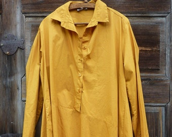 1a6a70ad93f mustard cotton shirt tunic size L XL.loose cotton summer boho tunic.shirt  dress with sleeves.cotton clothing .summer blouse