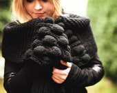 black chunky knit scarf.long winter shawl.scarf women knit.scarf pattern.scarf knit organic wool. handmade scarf.christmas gift