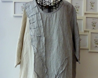 774e9779104 boho linen dress.gray M size linen dress.loose linen dress tunic .natural linen  women clothing.pituck linen dress.