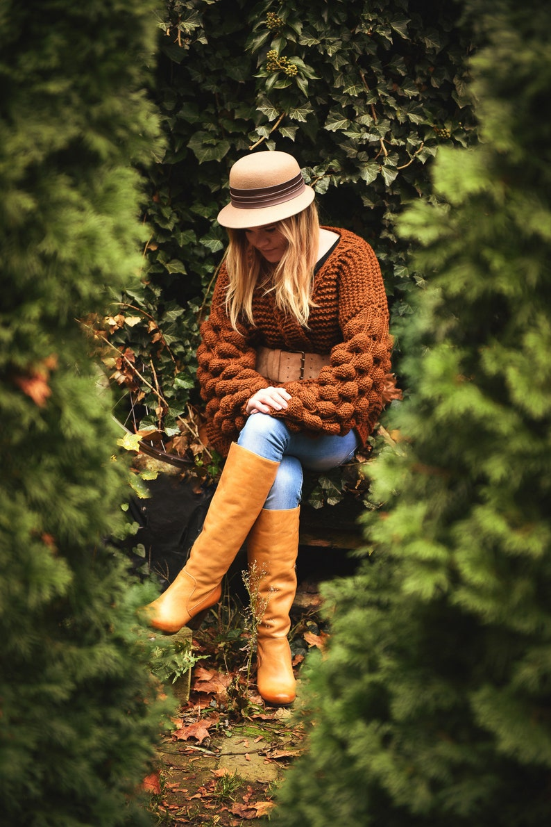brown bubble  knit sweater.handmade woman chunky sweater.oversized long knitting sweater.organic wool sweater.knitted clothe gifts