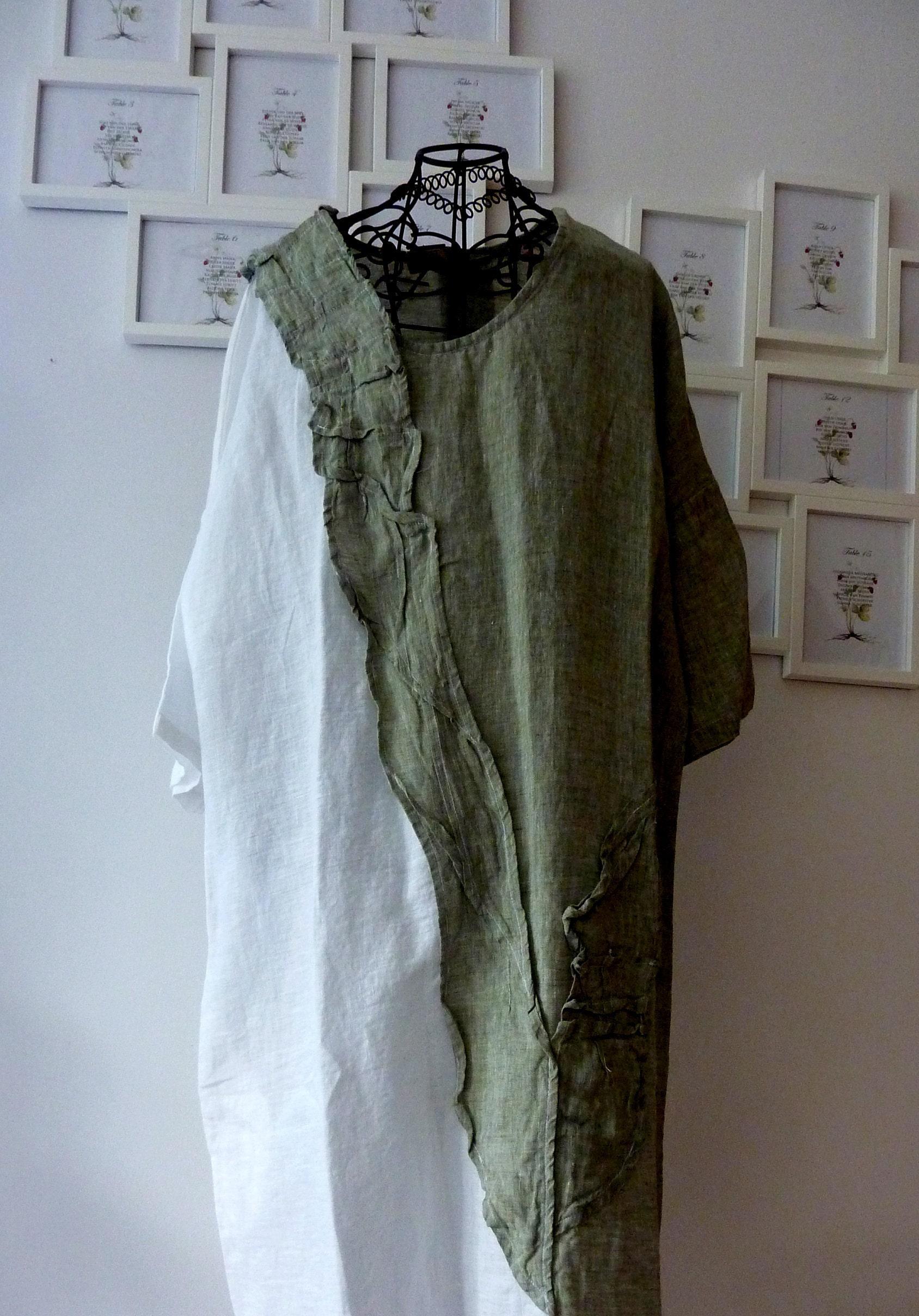 a5abb62b718 Green M size linen dress.loose linen dress tunic .natural