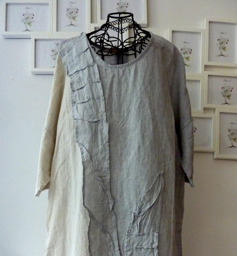 fce37acac8 Boho suknia lniana. szara sukienka rozmiar len. luźna Tunika