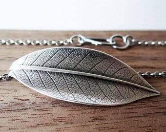 Leaf Pendant Necklace in Sterling Silver
