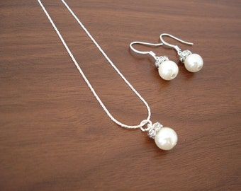 3 Bridesmaid Gift Jewelry Sets - Popular Fancy Single Pearl Earrings & Necklace, pearl bridesmaid jewelry, bridesmaid gifts