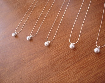 6 Single Pearl Bridesmaid Necklaces - Ivory