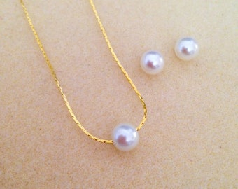 6 Floating Pearl Bridesmaid Necklace & Stud Earrings Jewelry Sets - Wedding Jewelry, Bridesmaid Jewelry - Gold, Rose Gold