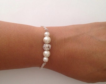 Set of 6 Bridesmaid Gift Bracelets, 6 Pearl and Rhinestone Bracelets, Bridesmaid Pearl Bracelets, Bridesmaid Gifts