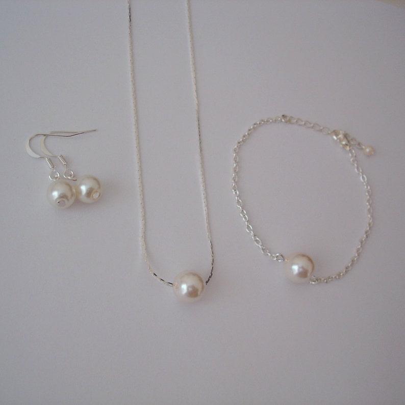 Minimal Bridal Jewelry Necklace Bracelet Earrings Necklace Bracelet Earrings Floating Single Pearl Jewelry Set