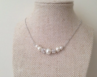Set of 5 Bridesmaid Gift Necklaces, Pearl and Rhinestone Necklaces, Bridesmaid Pearl Necklaces, Graduated Bridesmaid Gifts