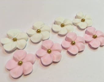 Icing flowers etsy lot of 100 white and pink royal icing flowers w gold sugar balls for cake decorating mightylinksfo