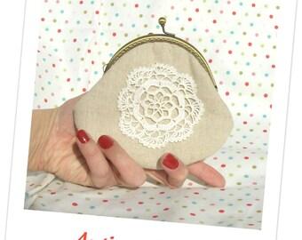 Antique doily clutch