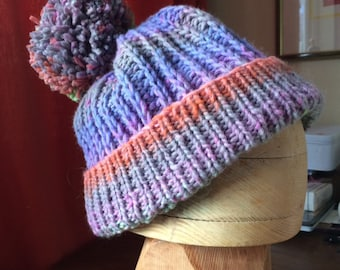 9f187e20eab Pompom chunky Rowan wool colourful slouch winter hat