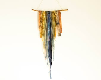 Plant-dyed Silk Wall Hanging - Botanical Wall Art - Ecological Apartment Decor - plant dyed palette